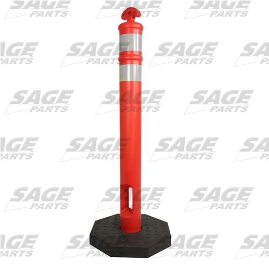 RAMPTECH Traffic Delineator Post with Reflective Bands and Rubber Base