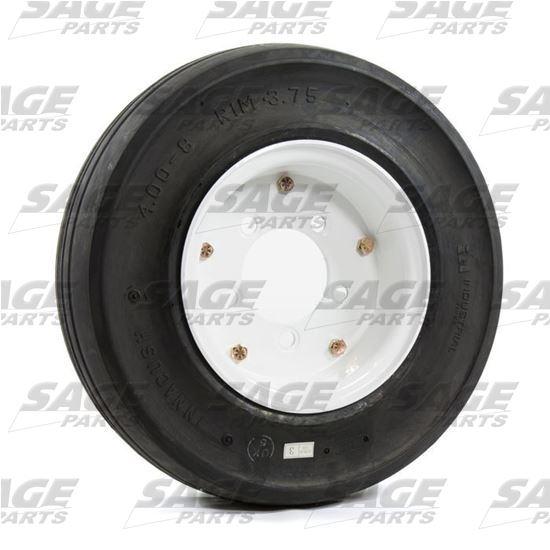 4 x 8 x 3.75 Pilot White Wheel & Tire